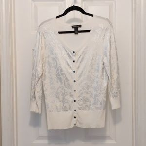 White House Black Market silver white cardigan L